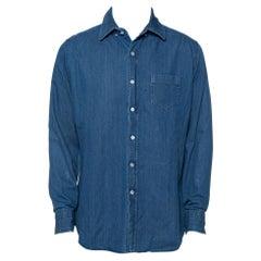Tom Ford Blue Lightweight Denim Button Front Shirt XXL