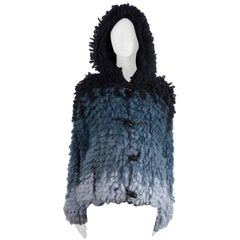 TOM FORD blue mohair & silk GRADIENT HOODED BOUCLE Jacket S