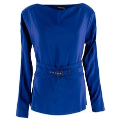 Tom Ford Blue Silk Belted Long Sleeve Top US6