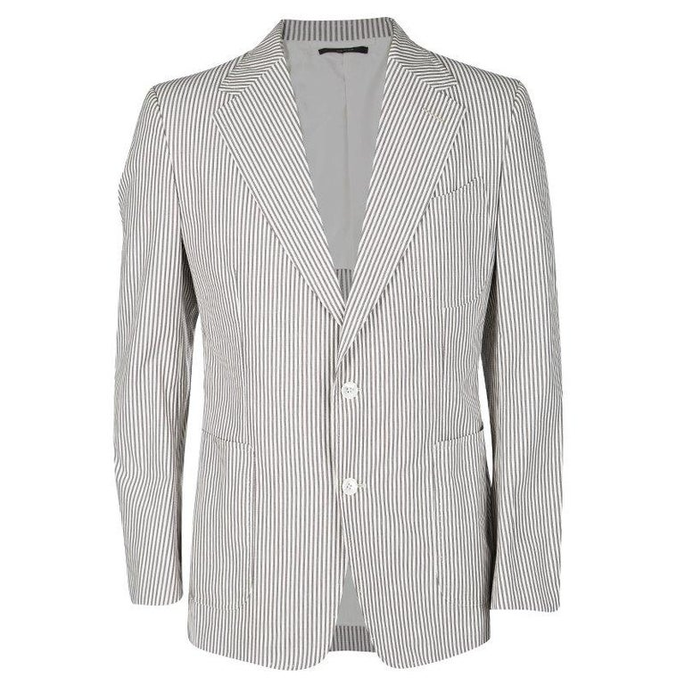 daa074205 Tom Ford Brown and White Striped Cotton Basic Base Blazer XL For Sale