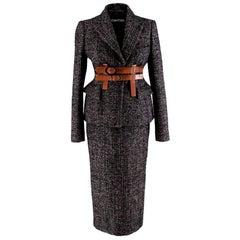 Tom Ford Brown & Black Wool blend Tweed 2-piece Suit - Size US4