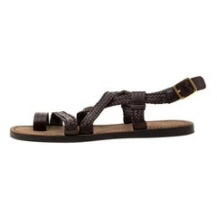 Tom Ford Brown Leather Flat Sandals Size 43