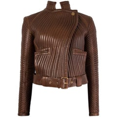 TOM FORD brown QUILTED LEATHER BIKER Jacket 38 XS