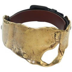 Tom Ford Brutalist Melted Brass & Leather Choker Necklace