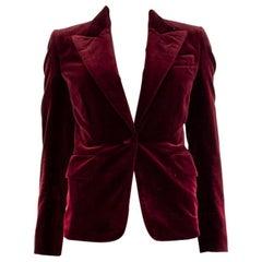 TOM FORD burgundy cotton VELVET BLAZER Jacket 36 XXS