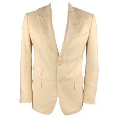 TOM FORD Chest Size 42 Beige Woven Silk Peak Lapel Sport Coat