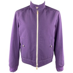 TOM FORD Chest Size 42 Purple Contrast Stitch Cotton Blend Zip Up Jacket