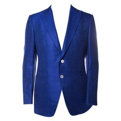 Tom Ford Cobalt Blue Textured Linen Silk Tailored Blazer L