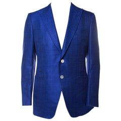 Tom Ford Cobalt Blue Textured Linen Silk Tailored Blazer L