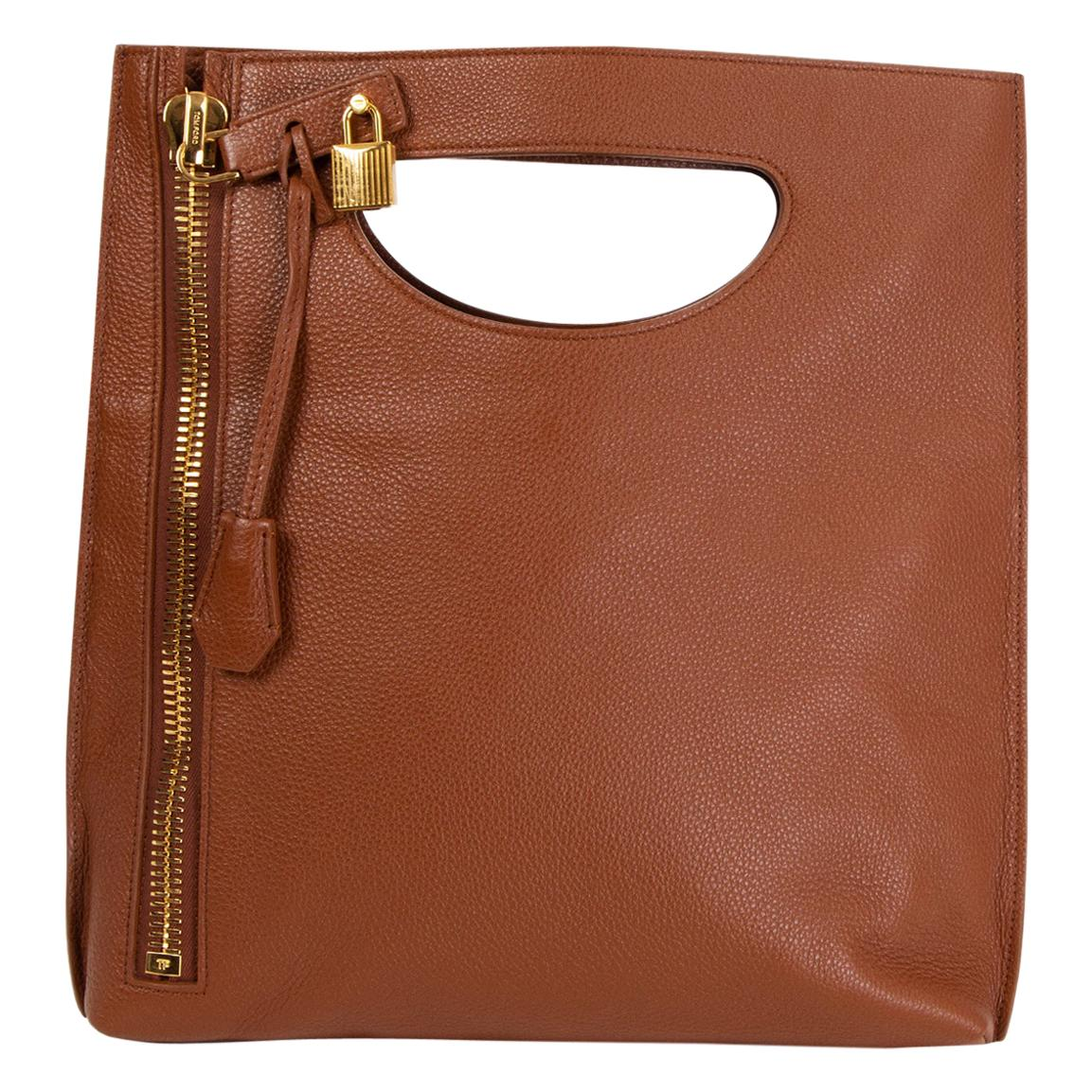 TOM FORD cognac brown leather ALIX SMALL Shoulder Bag