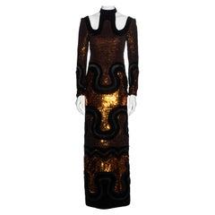 Tom Ford copper sequin and velvet multi panelled evening maxi dress, fw 2015