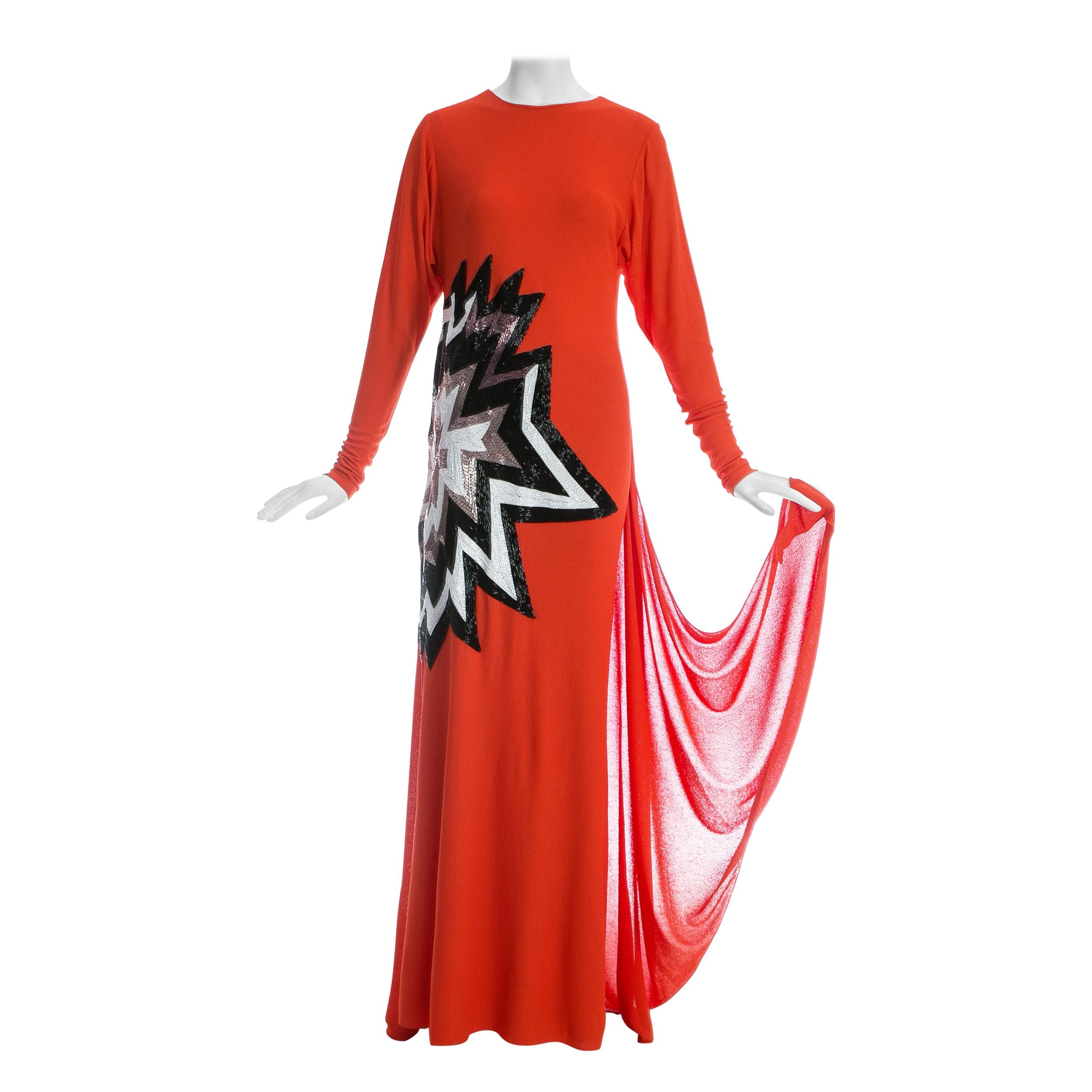 Tom Ford coral viscose crepe beaded evening dress with train, fw 2013