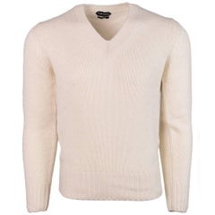 Tom Ford Cream Cashmere Loose Rib Knit V Neck Raglan Sweater