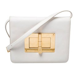 Tom Ford Cream Leather Large Natalia Shoulder Bag