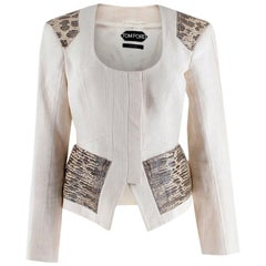 Tom Ford Cream Linen Jacket with Lizard Embossed Patches - Size US 4