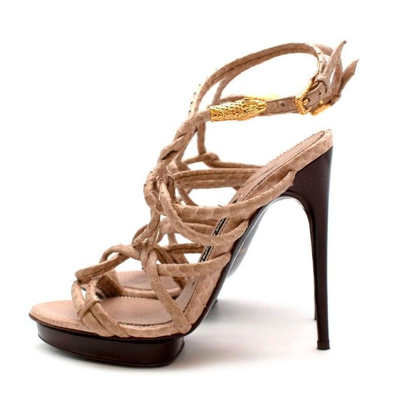 Beige Tom Ford Cream Snakeskin Strappy Heeled Platform Sandals - Size 38 For Sale