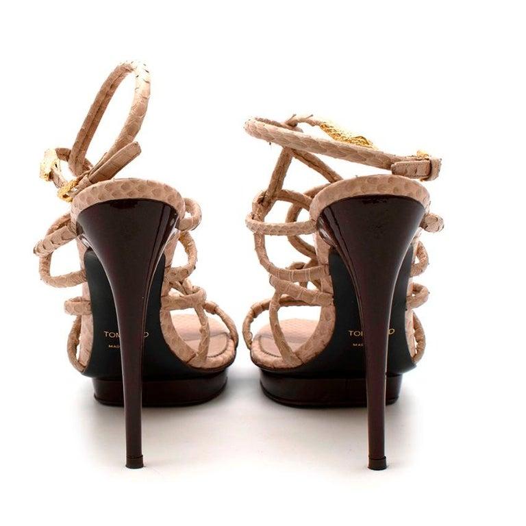 Tom Ford Cream Snakeskin Strappy Heeled Platform Sandals - Size 38 For Sale 1