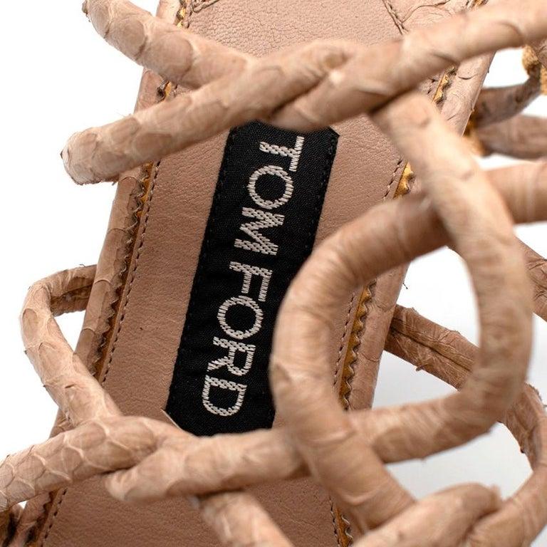 Tom Ford Cream Snakeskin Strappy Heeled Platform Sandals - Size 38 For Sale 2
