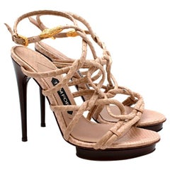 Tom Ford Cream Snakeskin Strappy Heeled Platform Sandals - Size 38