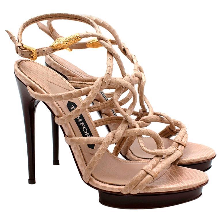 Tom Ford Cream Snakeskin Strappy Heeled Platform Sandals - Size 38 For Sale