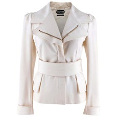 Tom Ford Cream Tailored Belted Jacket - Size US 0-2