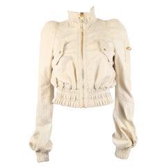 TOM FORD cream white PYTHON CROPPED BOMBER Jacket 40 S