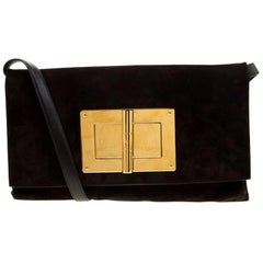 Tom Ford Dark Brown Nubuck leather Natalia Convertible Clutch