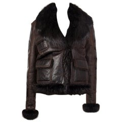 TOM FORD dark brown  SHEARLING & FUR LEATHER Jacket XS