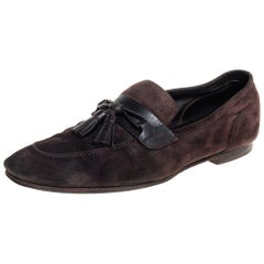 Tom Ford Dark Brown Suede And Leather Tassel Loafers Size 43.5