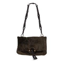TOM FORD dark olive green suede leather BRAIDED Shoulder Bag