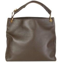 TOM FORD drab olive green leather ZIPPER STRAP HOBO Shoulder Bag