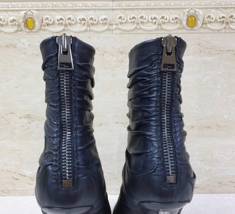 Black Tom Ford Draped Leather Metal Heels Booties For Sale