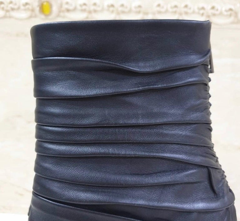 Tom Ford Draped Leather Metal Heels Booties For Sale 1