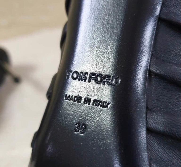 Tom Ford Draped Leather Metal Heels Booties For Sale 2