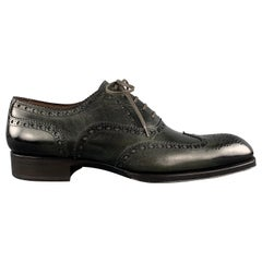 TOM FORD Edgar Size 10.5 Charcoal Antique Leather Wingtip Oxford Lace Up Shoes