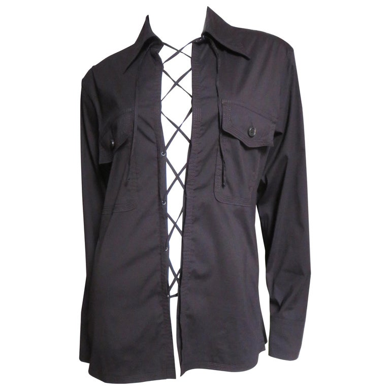 Tom Ford for for Yves St Laurent Lace up Safari Shirt For Sale