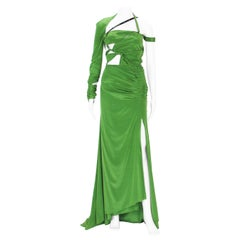 Tom Ford for Gucci 2003 Collection Silk Green Bondage Cut-Out Dress Gown
