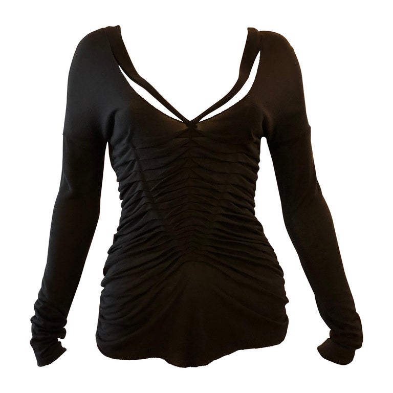 Tom Ford for Gucci (2004) Black Ruched Top w/Plunging Necklines (S) For Sale