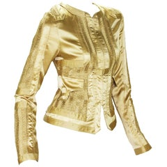 Tom Ford for Gucci 2004 Collection Gold Silk Limited Edition Jackets It.40  US 4