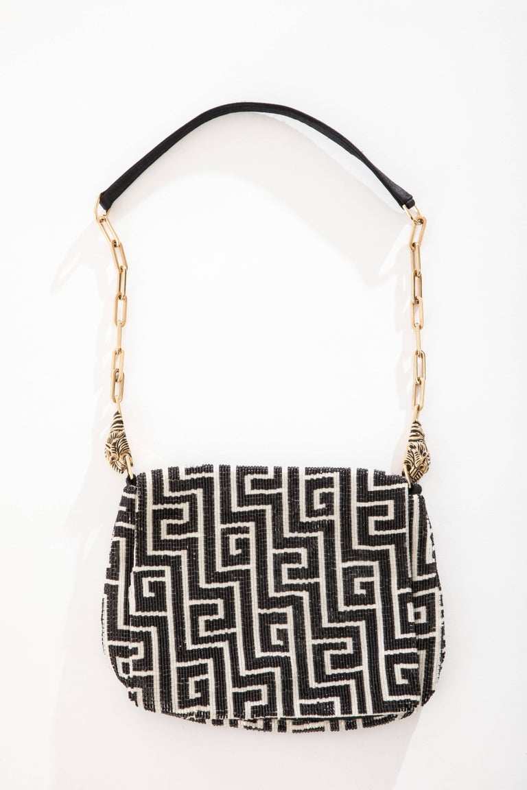 Black Tom Ford For Gucci Beaded Evening Bag Tiger And Chain Link Strap, Spring 2000 For Sale