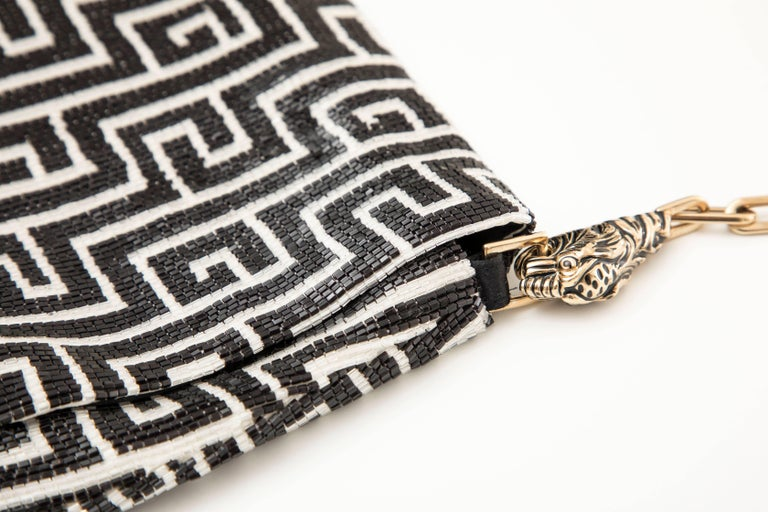 Women's Tom Ford For Gucci Beaded Evening Bag Tiger And Chain Link Strap, Spring 2000 For Sale