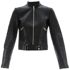 Tom Ford for Gucci black leather fitted jacket with gold hardware, S/S 1999