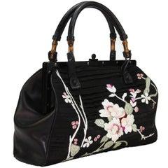 TOM FORD for GUCCI BLACK SILK FRAME JAPANESE FLOWERS BAG