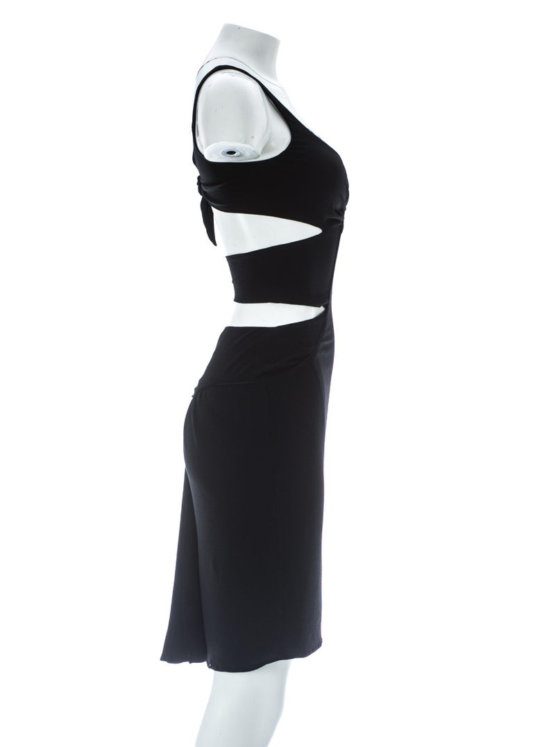 Tom Ford for Gucci black silk spandex evening dress with cut outs, A/W 2003 In Good Condition For Sale In London, GB