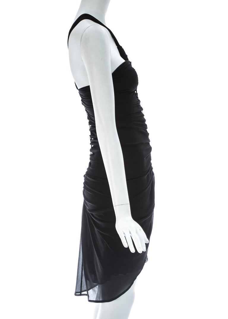 Women's Tom Ford for Gucci black silk spandex mini dress with gold metal plates, c. 2004 For Sale