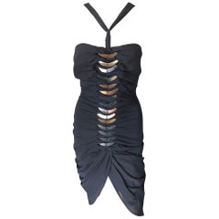 Tom Ford for Gucci c.2004 Embellished Cutout Back Black Mini Dress