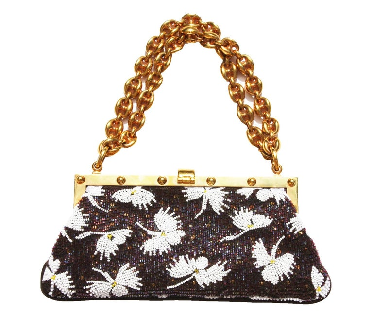 Tom Ford for Gucci Fully Beaded Chocolate White Frame Mini Bag Clutch Gold-tone Hardware Dual Chain-link Handles Chocolate Brown Satin Lining Embellished Flip-lock Closure. Measurements: W - 7.5 inches, H - 3.5 inches Handle Drop - 4.5 inches. Made