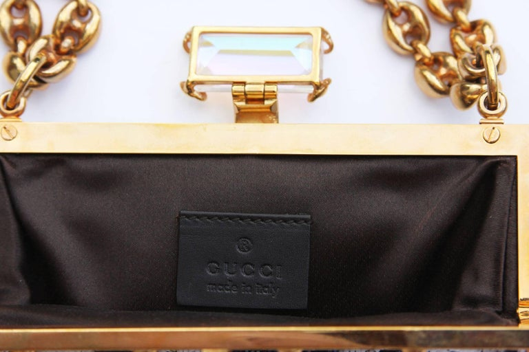 Tom Ford for Gucci Collectible Fully Beaded Chocolate White Clutch Mini Bag In Excellent Condition For Sale In Montgomery, TX