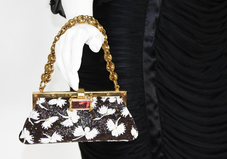 Tom Ford for Gucci Collectible Fully Beaded Chocolate White Clutch Mini Bag For Sale 1