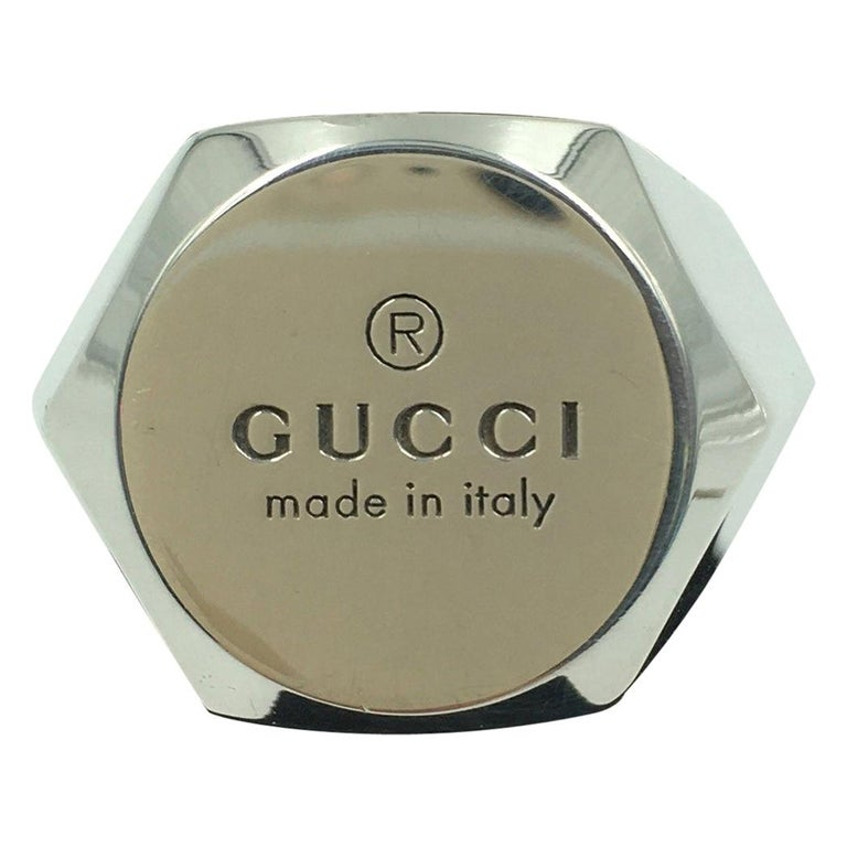 Tom Ford for Gucci Engraved Logo Sterling Silver Signet Ring  For Sale
